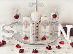 Image may contain: indoor Wedding Flutes, Wedding Unity Candles, Wedding Glasses, Afghan Wedding, Henna Candles, Candle Art, Henna Party, White Henna, Wedding Henna