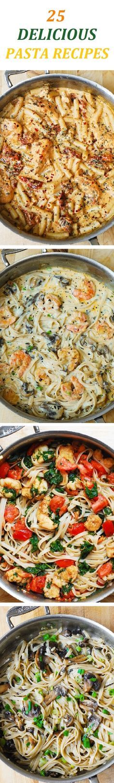 25 delicious pasta recipes with all kinds of pasta: fettuccine, spaghetti, penne, lasagna, homemade ravioli, and tortellini. You will find lots of options to choose from to help you in planning your weeknight or weekend dinners!