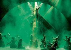 I love the greens and how they helps to detract attention from the stage trick being performed.  Wicked, West End.