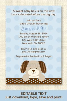 24 best puppy dog baby shower theme images on pinterest dog baby cute puppy dog baby shower invitation puppy baby shower invite blue brown baby boy instant download editable pdf a135 filmwisefo