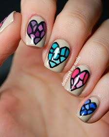 Stained Glass Heart Nail Art... These look so time consuming.