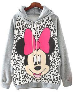 Grey Hooded Mickey Leopard Print Sweatshirt 20.69