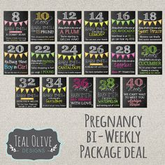 Bi-Weekly Pregnancy Chalkboard Sign - Chalkboard sign - Bi-Weekly Pregnancy Countdown - Chalkboard P Weekly Pregnancy Chalkboard, Pregnancy Countdown, Pregnancy Signs, Pregnancy Photos, Pregnancy Timeline, Pregnancy Help, Maternity Pictures, Package Deal, Babies First Year