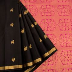 Handloom Pure Zari Kanjivaram Silk Saree With Elephant & Peacock Motifs 10022239 - AVISHYA.COM