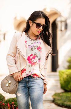 cute & little | petite fashion blog | pink moto jacket, floral swing tank, boyfriend distressed jeans, pink pumps, chloe drew | spring fall outfit