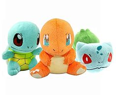Generic Pokemon Bulbasaur Charmander Squirtle Stuffed Plush (3 Piece), 5.8""