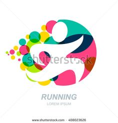 Abstract Running Man Silhouette On Multicolor Dots Background. Vector Human  Logo, Emblem, Icon