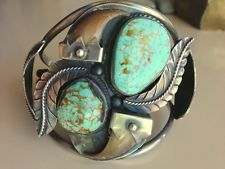 Rare Vintage Native American Sterling Silver, Turquoise, and Claw Cuff Bracelet