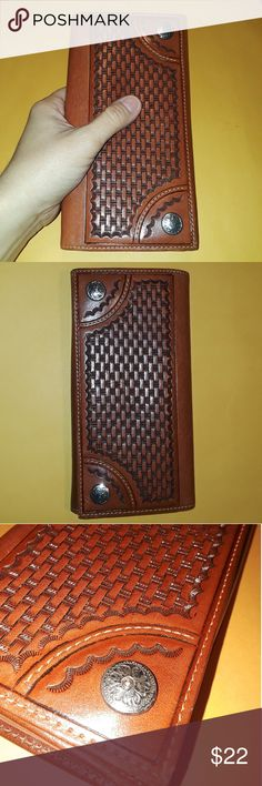 "Leather tooled ladies wallet DDD western Leather ladies wallet made by DDD, western tooled design. High quality leather very clean and nice conditions.  7 1/2""  4"". DDD Bags Wallets"