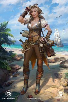 f Ranger Pirate navigator Scrolls maps coastal sea jungle ship desert RPG Female Character Portraits : Photo Steampunk Characters, Dnd Characters, Fantasy Characters, Female Characters, Pirate Art, Pirate Woman, Pirate Crafts, Pirate Ships, Lady Pirate