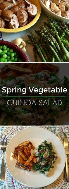 Spring Vegetable Quinoa Salad - incorporates seasonal veggies like asparagus and chicken for protein. An all-around nutritious and delicious meal.   Clearly Organic Nutritionist Corner