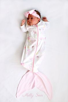 Must make - so cute! Sew a Mermaid Sleep Sack - a Mermaid blanket for babies! Get the sewing pattern and tutorial including video on Melly Sews
