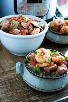 This Instant Pot Shrimp and Sausage Gumbo Recipe is full of color and delicious flavors! And thanks to the magic of pressure cooking, is ready in half the time when you make it in your Instant Pot. This Instant Pot Shrimp and Sausage Gumbo has so many things I love, that I'd make it every week if I could get away with it. Traditionally, gumbo is served over rice. If you want to skip the carbs you can spoon it over cauliflower rice or eat it right out of the bowl on its own!