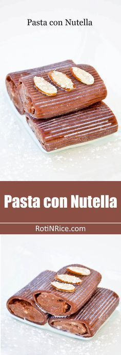 Pasta con Nutella a Pasta con Nutella an easy dessert of chocolate tube pasta filled with nutella and cream cheese drizzled with chocolate liqueur sauce. Different but yummy! | RotiNRice.com Recipe : http://ift.tt/1hGiZgA And @ItsNutella  http://ift.tt/2v8iUYW