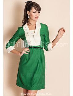 ts v-hals contrast kraag driekwart mouw schede jurk
