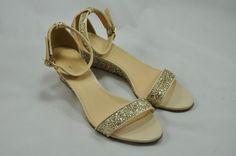 3cceaa70e6602 J CREW Lillian Glitter Low Wedge Sandal 5 Metallic Gold  265 NEW Ankle Strap   JCrew