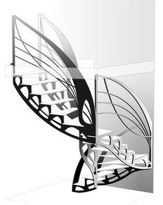Escalier design double quart tournant d'inspiration Eiffel et Art Nouveau dessiné et réalisé par Jean Luc Chevallier pour La Stylique.