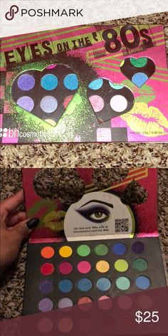 BH cosmetics Eyes on the 80's pallet Like NEW Bh cosmetics Eyes on the 80's eyeshadow pallet This pallet is basically new I only swatched a couple colors BH Cosmetics Makeup Eyeshadow