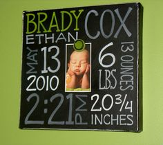 So want to do this with the kids' baby pictures ~ Baby Birth Information Canvas Frame. $48.00, via Etsy.