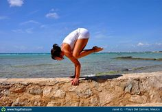 "#Yoga Poses Around the World: ""Crow Pose taken in Playa Del Carmen, Mexico by Janet C."""