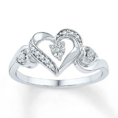 Jared - Diamond Heart Ring 1/20 ct tw Round-cut Sterling Silver