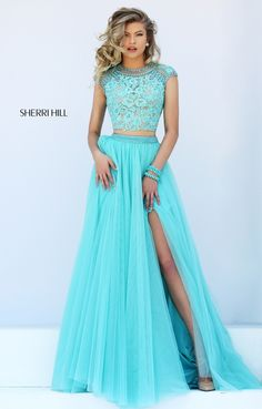 Long Sherri Hill 50110 Blue Two Piece Beaded Prom Dress 2016 Homecoming Dresses, Sherri Hill Prom Dresses, Grad Dresses, Prom Dresses Blue, Dance Dresses, Pretty Dresses, Beautiful Dresses, Formal Dresses, Prom 2016