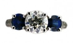 Estate 3 Stone Old European Cut 1.50ct Diamond Sapphire Sides Platinum Ring EGL