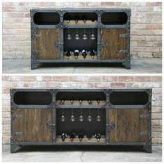 Top one is and en route to NY, bottom one is and heading to Michigan. We can build them in virtually any size, the FreightBar Wine Credenza. Modern Industrial Furniture, Industrial Style, Wine Credenza, Sideboard Cabinet, Small Apartment Furniture, Wine Gift Boxes, Concrete Kitchen, Iron Furniture, Vintage Office
