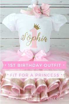 Princess Birthday Outfit for Girl - Baby Girl Pink and Gold Tutu - Light Pink First Birthday Cake Smash Set - (Any Age) 1st Birthday Princess, 1st Birthday Tutu, 1st Birthday Party Themes, Baby Girl 1st Birthday, 1st Birthday Outfits, Disney Birthday, Theme Ideas, Party Ideas, Gold Tutu