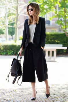 Black cropped wide leg trousers.