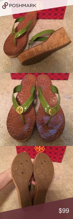 """Tory Burch green Suzy wedge sandals Sz 9 w/ box Worn once. No dust bag. Footbed measures 10.75"""" I think original retail was $195 - sold out everywhere. FIRM PRICE Tory Burch Shoes Sandals"""