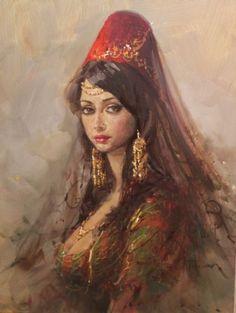 "Vintage Woman"" painted by Remzi Taşkıran, (Turkish painter). Classic Paintings, Beautiful Paintings, Renaissance Kunst, Turkish Art, Historical Art, Renoir, Art Plastique, Portrait Art, Portraits"