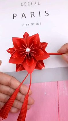 #diy #handmade #redhairpin #origami #paper #craft #kids #fashion #art Paper Flowers Craft, Paper Crafts Origami, Paper Crafts For Kids, Flower Crafts, Origami Flowers, Craft Kids, Kids Diy, Diy Paper, Tissue Paper