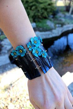 Forget-me jewelry, Polymer clay bracelet, wide bracelet with little flowers by Jewelrylimanska on Etsy