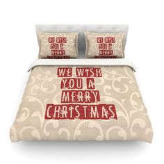 """Sylvia Cook """"We Wish You A Merry Christmas"""" Holiday Cotton #Duvet #holiday #christmas #typography"""