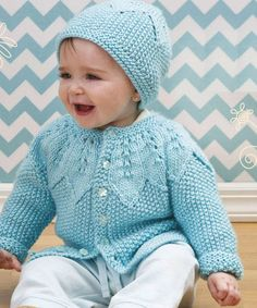 Baby Knitting Patterns Baby cardigan and hat knitting pattern free. Baby Cardigan Knitting Pattern Free, Love Knitting, Knitting For Kids, Baby Knitting Patterns, Baby Girl Cardigans, Knit Baby Sweaters, Knitted Baby, Free Baby Patterns, Free Pattern