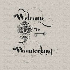 Alice In Wonderland Key and Keyhole Lewis Carroll Digital Download for Iron on Transfer Tea Towel Fabric Pillow DT1368