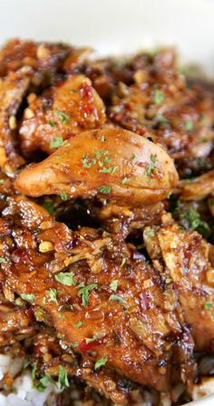 Sweet Garlic Chicken Recipe ~ The shredded chicken is served over rice... This would also be good over noodles, potatoes or quinoa
