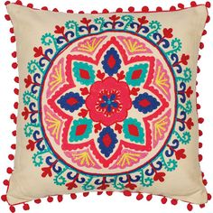 Enliven a neutral seating group or add bohemian allure to your reading chair with this eye-catching embroidered pillow, featuring a lovely botanical pattern....