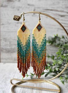 Long fringe earrings Beaded earrings Boho style  beadwork
