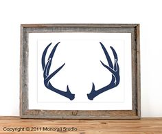 Antler Silhouette Screenprint 125 x 19 Pick Your Color by Monorail