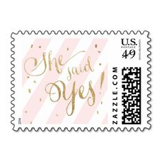 She Said Yes!  Gold Glitter & Blush Pink Stripe Engagement Wedding Postage Stamps