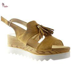 5e3024d88576f6 Angkorly - Chaussure Mode Sandale plateforme ouverte femme frange pom-pom  bois Talon compensé plateforme