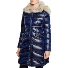 Dawn Levy Cloe Ii Coyote Fur Trim Down Coat ($845) ❤ liked on Polyvore featuring outerwear, coats, abyss, down coat, blue coat, coyote fur coat, blue down coat and fur-lined coats
