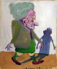"""""""De paseo 2"""", gouache sobre papel, 24x 18 cm., year 1998"""