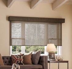 Outside Mount Roman Shades, Outside Mount Blinds, Blinds For Windows, Windows And Doors, Window Blinds, Window Coverings, Window Treatments, Dark Wood Stain, Tall Ceilings