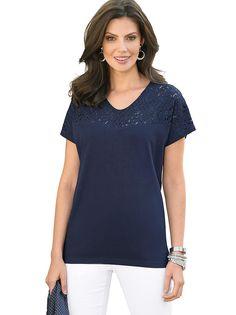 Tričko in námořnická modrá V Neck, Tops, Women, Fashion, Moda, Shell Tops, Fasion, Fashion Illustrations, Fashion Models