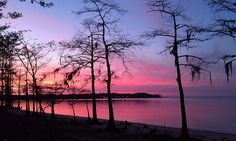 'Sunset on the Neusiok Trail' on the Neuse River looking back from Pine Cliff towards Cherry Point Marine Base, North Carolina;  photo by James Lee;  from Mountains-to-Sea Trail Photo Contest, via Flickr