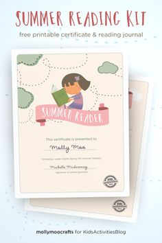 FREE PRINTABLE Summer Reader Certificate and Journal | MollyMooCrafts.com for #kidsactivitiesblog