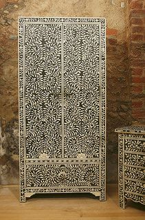 Indian Black Bone Wardrobe with side cabinet http://www.irisfurnishing.com/mother-of-pearl-inlay-desk-p/b-dsk-g.htm